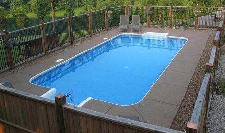 Equator 14\' x 28\' Rectangle Shape In Ground Pool Kit with Step   2\' Radius  Corner   Steel Wall   61303